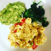 Scrambled egg with avocado and spinach