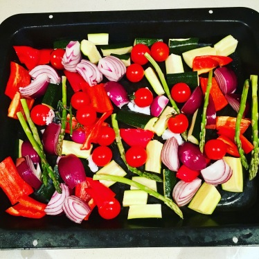 Colourful roasted veg