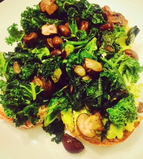 spinach kale and muscrooms on toast
